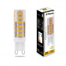 Лампа светодиодная Feron G9 7W 2700K прозрачная LB-433 25766