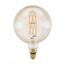 Лампа светодиодная филаментная диммируемая Eglo E27 8W 2100К янтарь 11687
