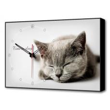 Настенные часы (60х37 см) Серая кошка Bl-2402 Brilliant