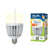 Лампа светодиодная с матовым рассеивателем Volpe LED-M80-30W/WW/E27/FR/S Материал корпуса термопластик. Цвет свечения теплый белый. Серия Simple